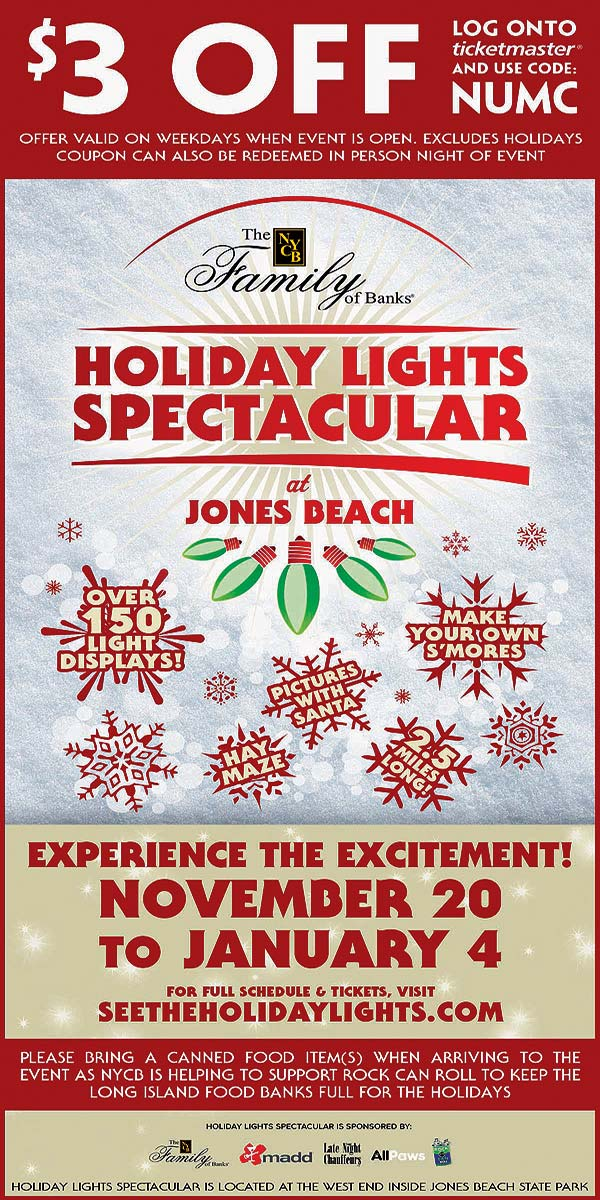 jones beach holiday lights discount